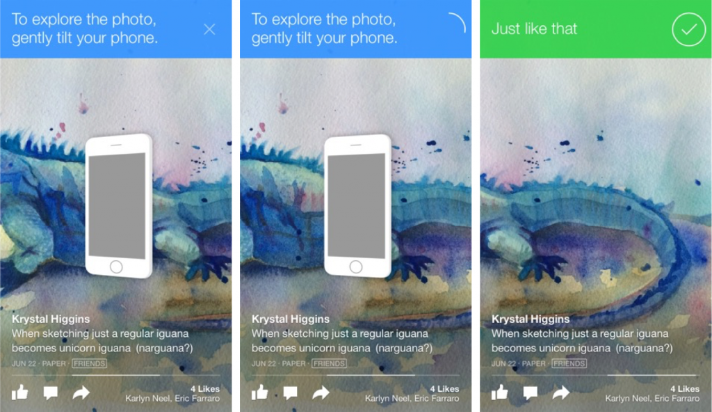 Facebook Paper App's user guided tutorial