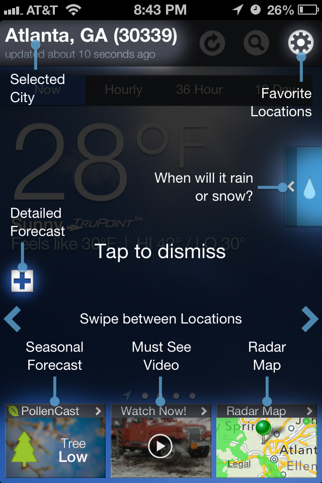 Weather Channel app coachmarks