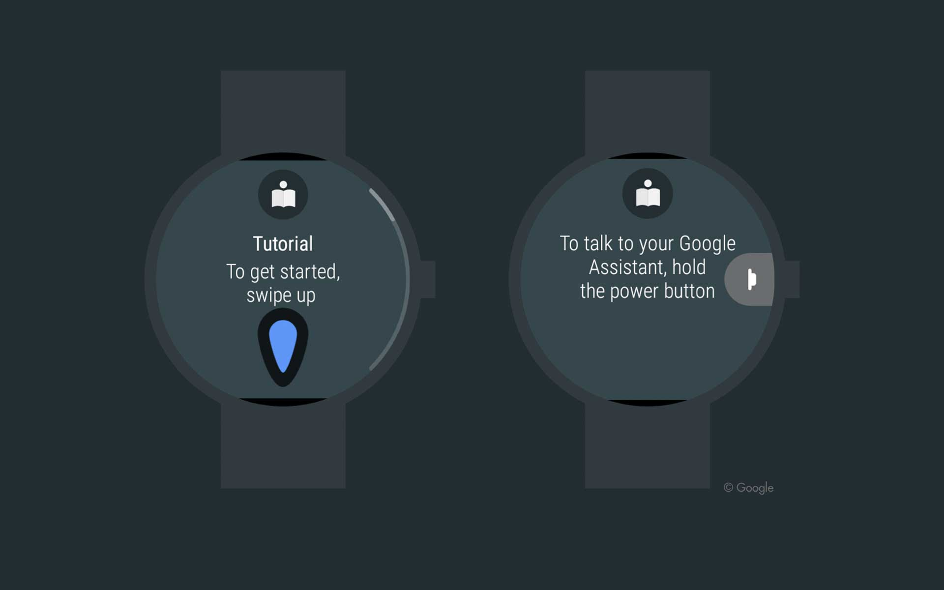 Images showing new user tutorial on Android Wear smart watch