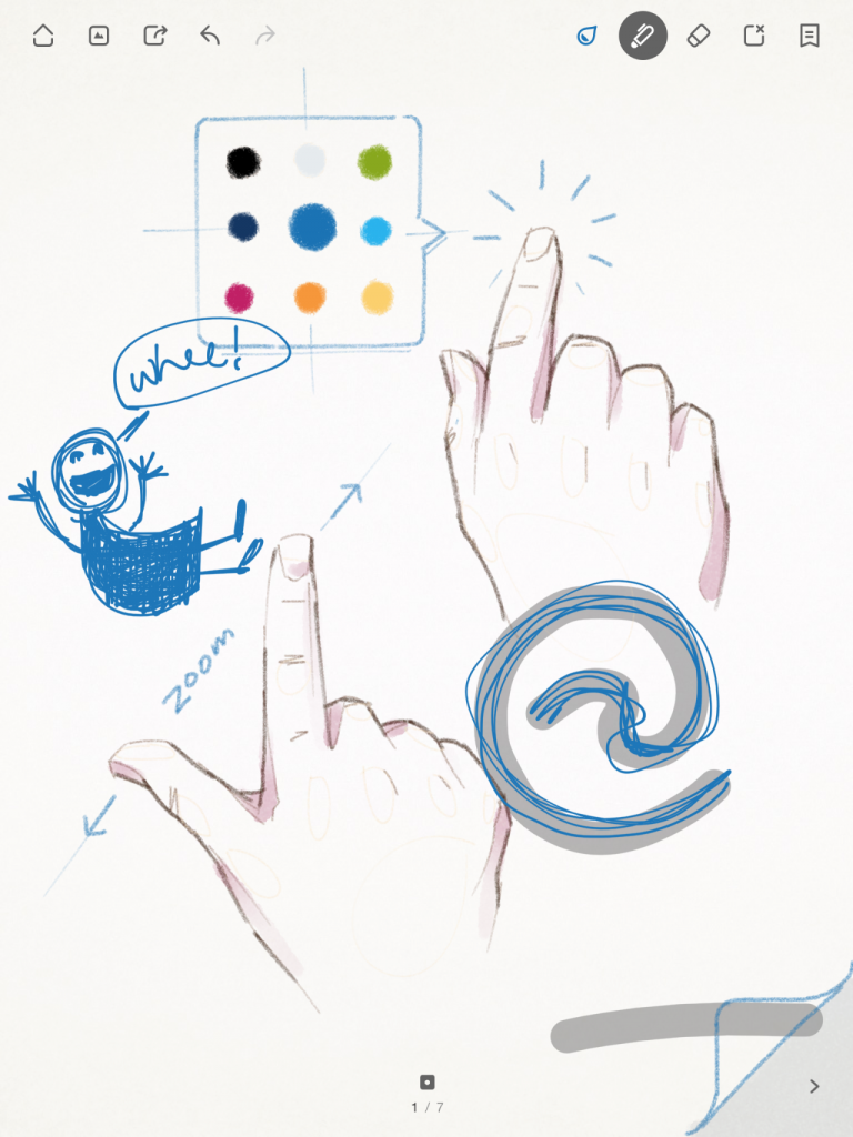 Wacom's Bamboo iPad drawing app has an image on the first empty sketchbook page that invites the user to doodle atop it, but also uses its default drawing as subtle education about zooming and tapping to find the color picker.