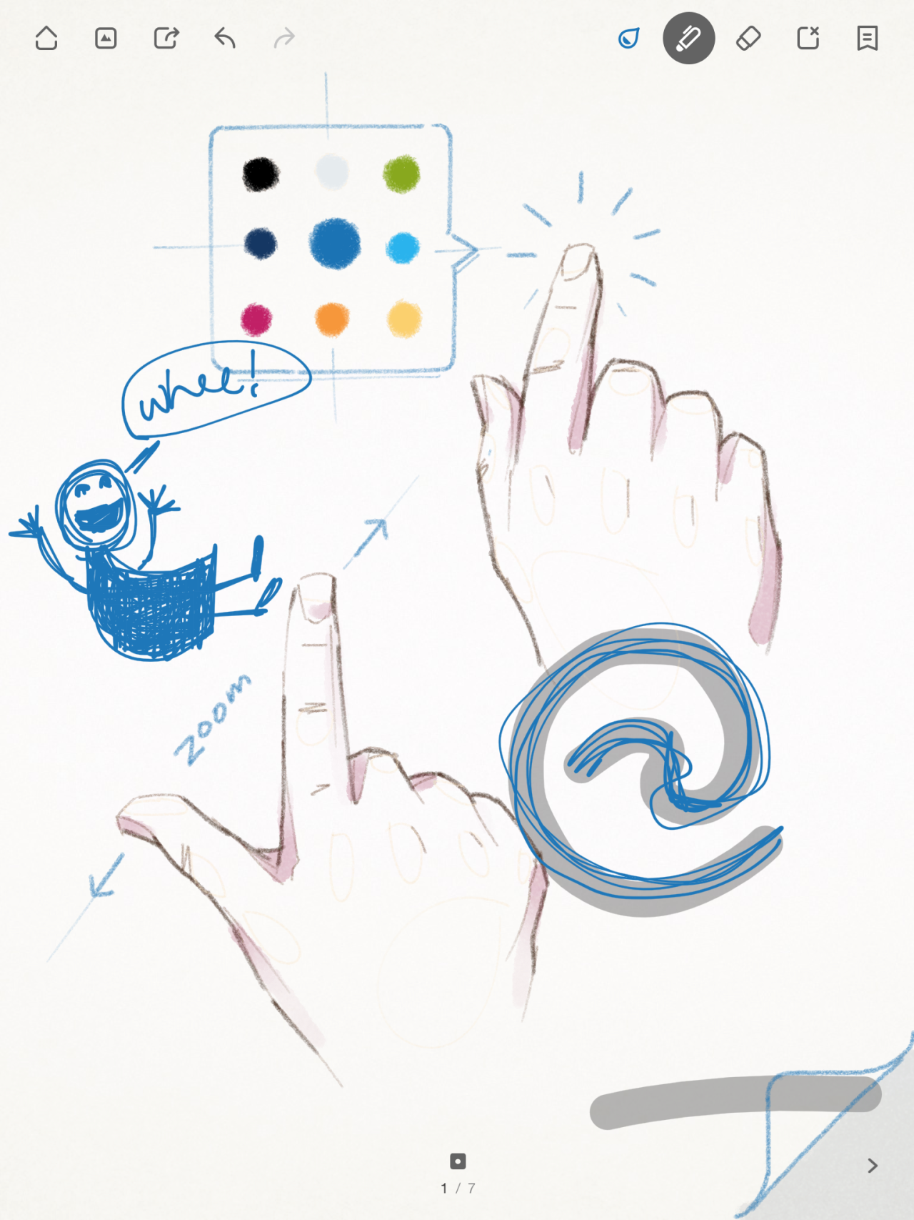 Screenshot from Wacom's Bamboo iPad drawing app, showing an example illustration on the first page of the user's first notebook, where the illustration itself gives some tips about how to use the UI while also demonstrating how things will look after that UI is used.