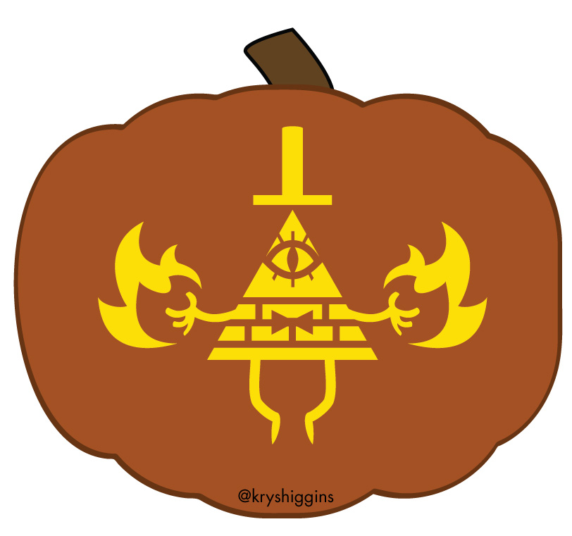 Free Bill Cipher jack-o-lantern stencils inspired by Gravity
