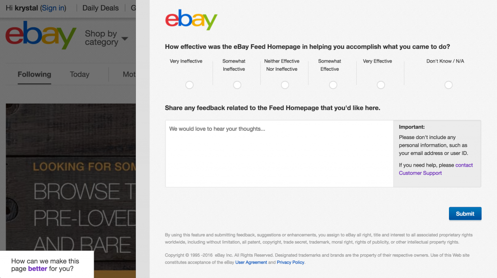 eBay survey on home page