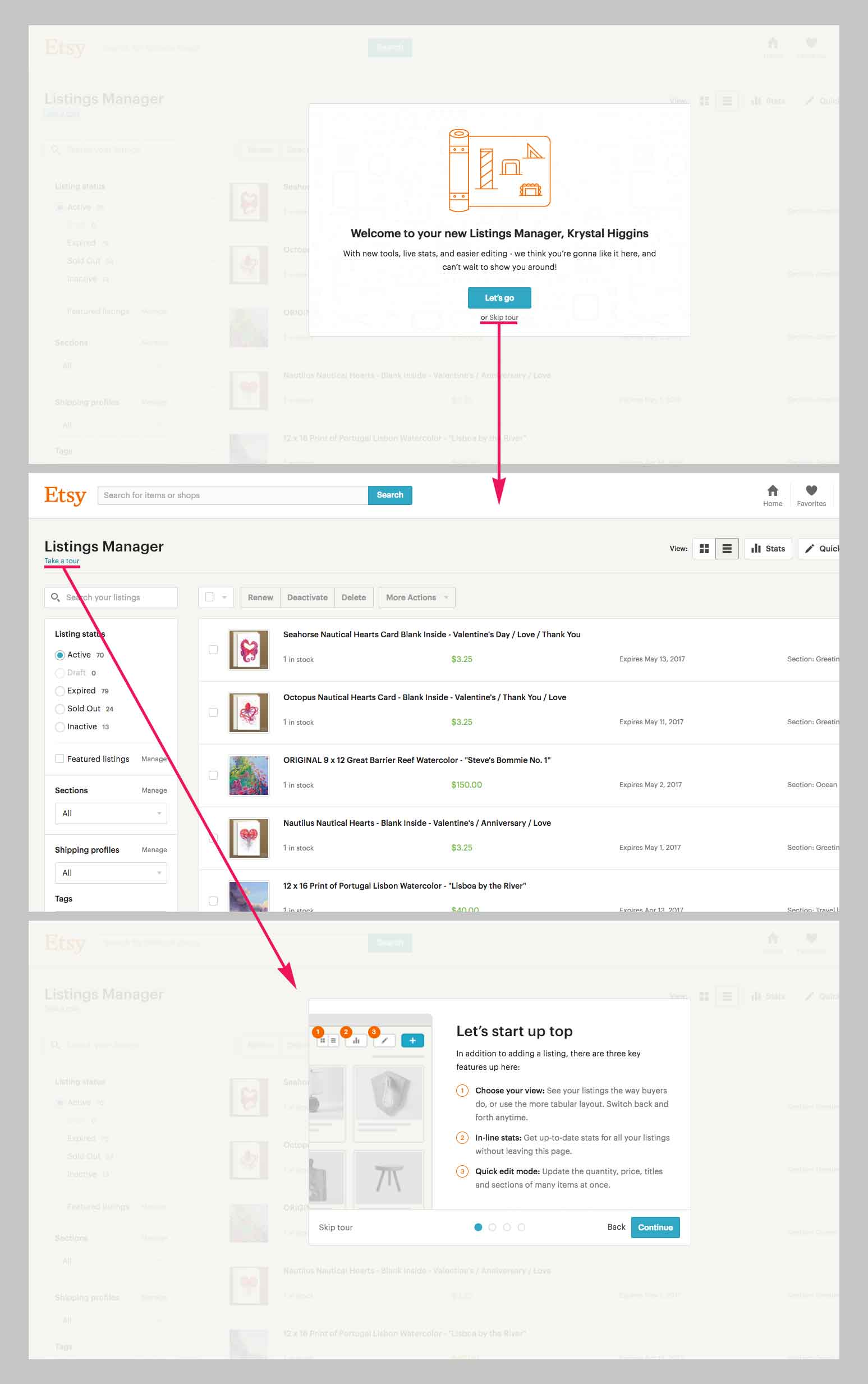 Screenshot showing Etsy's product tour