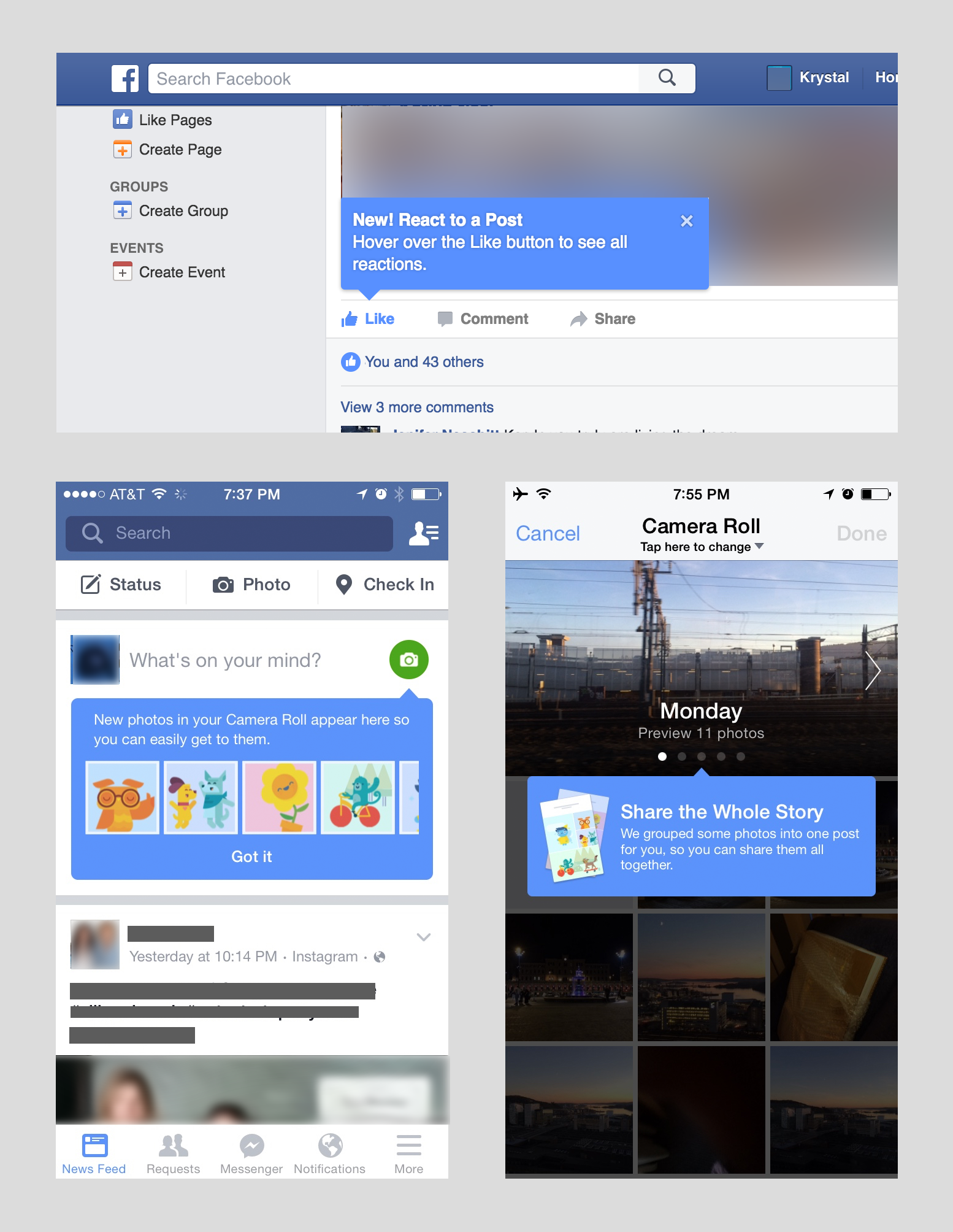 Screenshots showing consistent use of Facebook blue tips