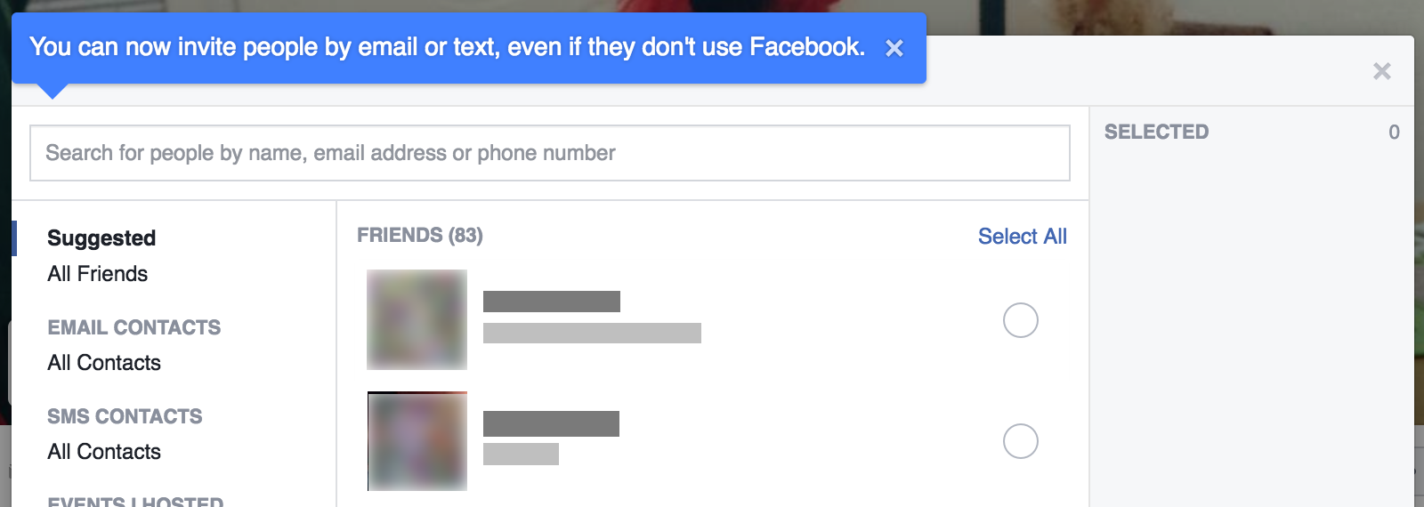 Screenshot showing tooltip and cue text in Facebook events