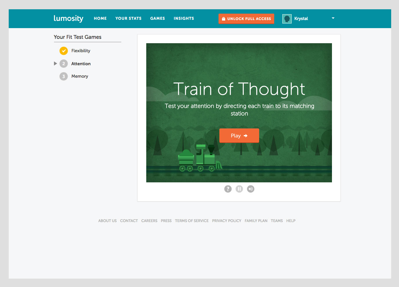Screenshot of the beginning of a Lumosity game