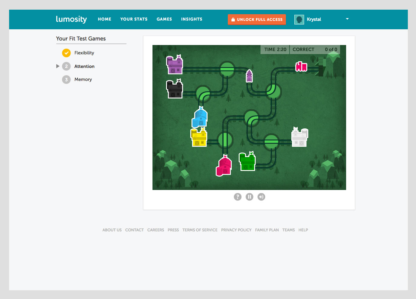 Screenshot of Lumosity game in progress