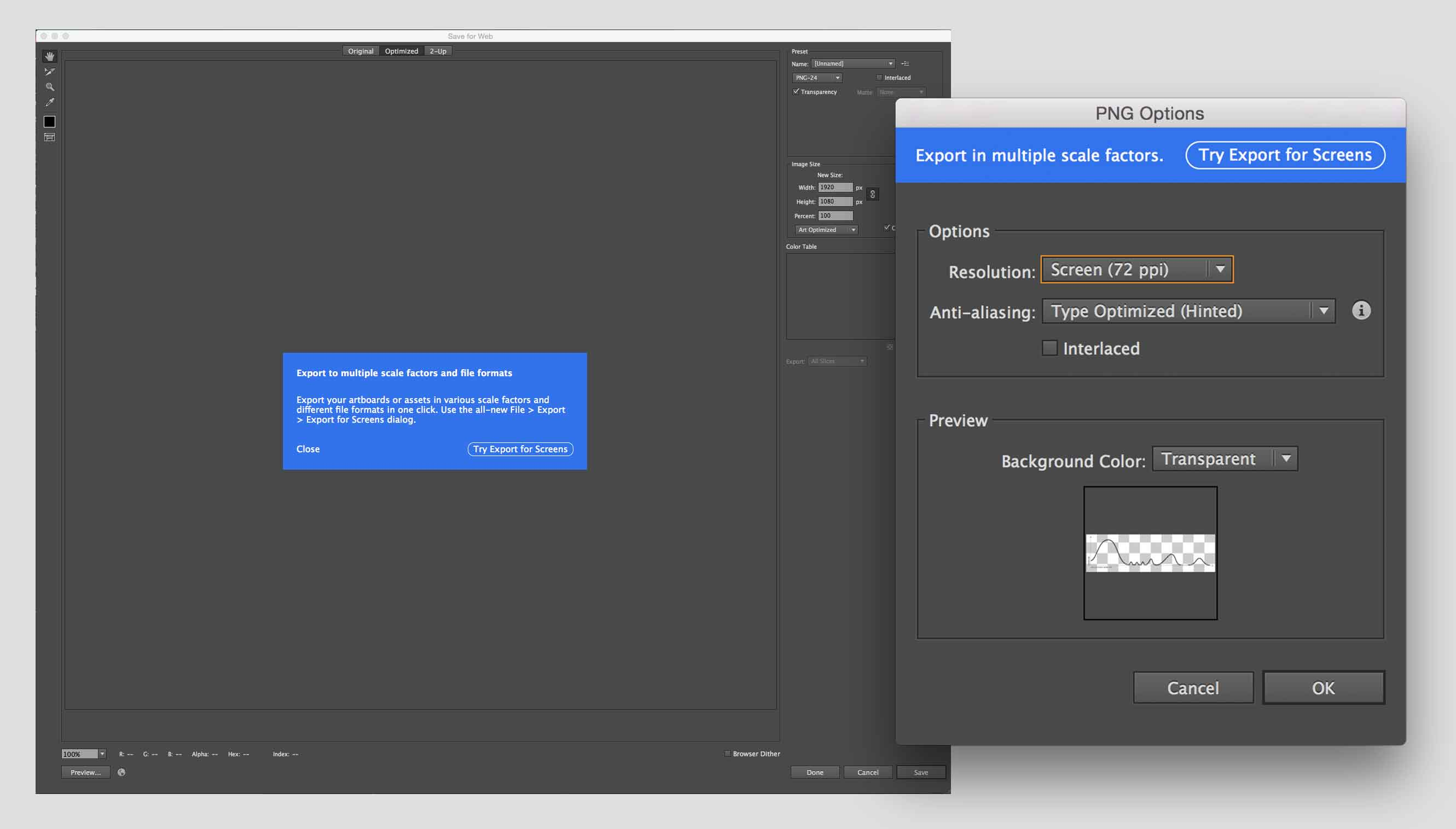 "Screenshots showing ""Save for screens"" feature repeated in Photoshop and Illustrator"