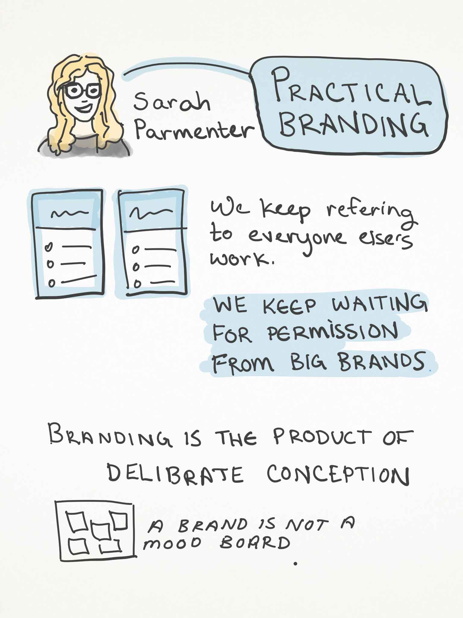 Sketchnotes page 1 from Sarah Parmenter's Talk