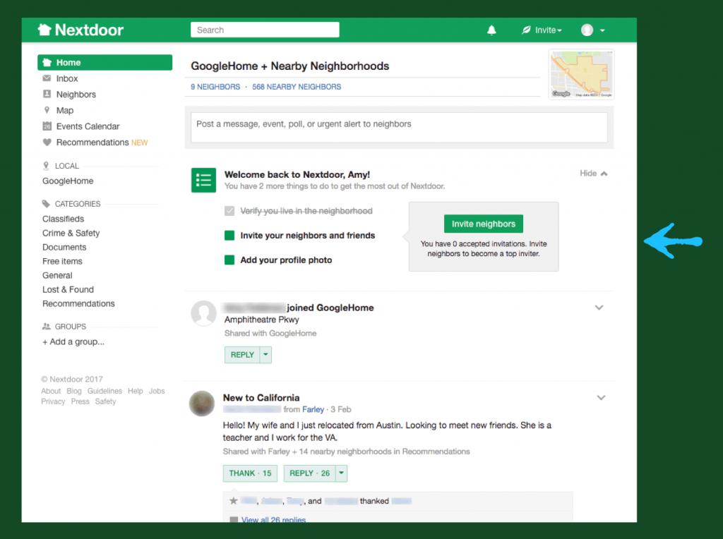 Screenshot of Nextdoor's inline guidance about next steps