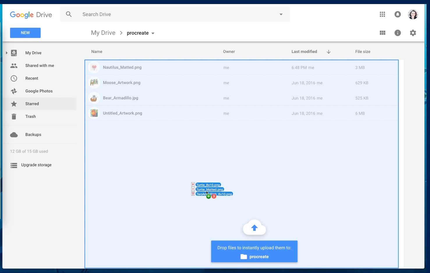 Screenshot of Google Drive web client's reactive guidance