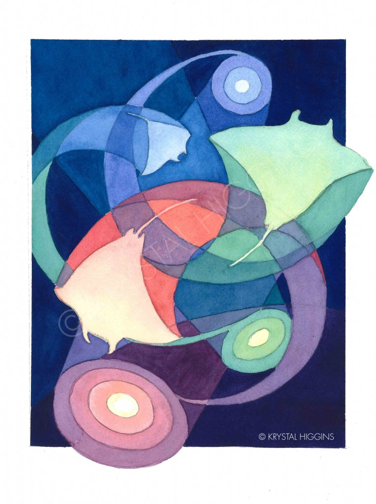 Scan of a final, abstract watercolor painting of 3 manta rays moving in circular patterns
