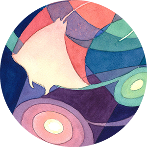 Circular cropped thumbnail image of an abstract watercolor painting of multi-colored manta rays