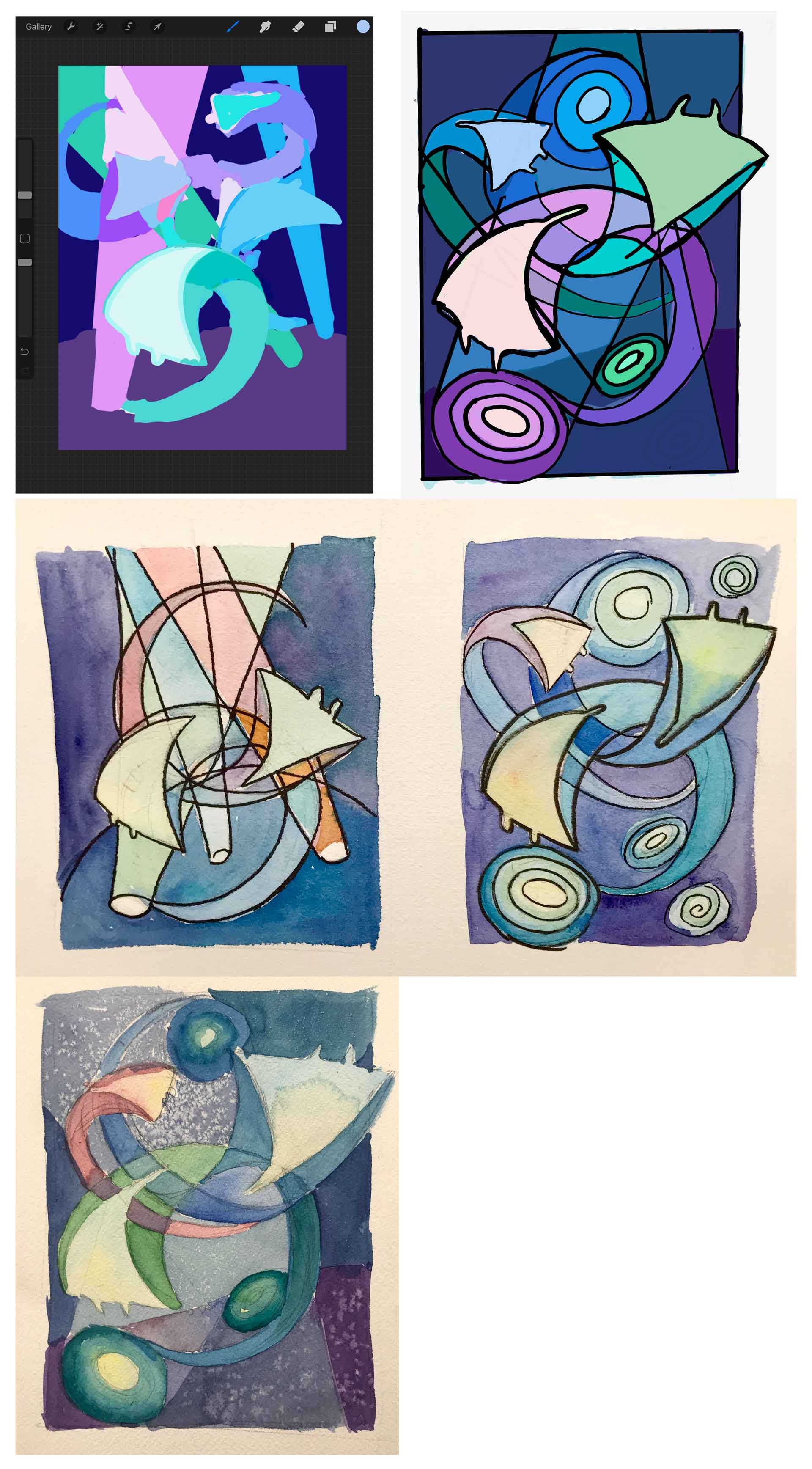 "A series of images showing digital and analog sketches of the ""Manta Entanglement"" painting"