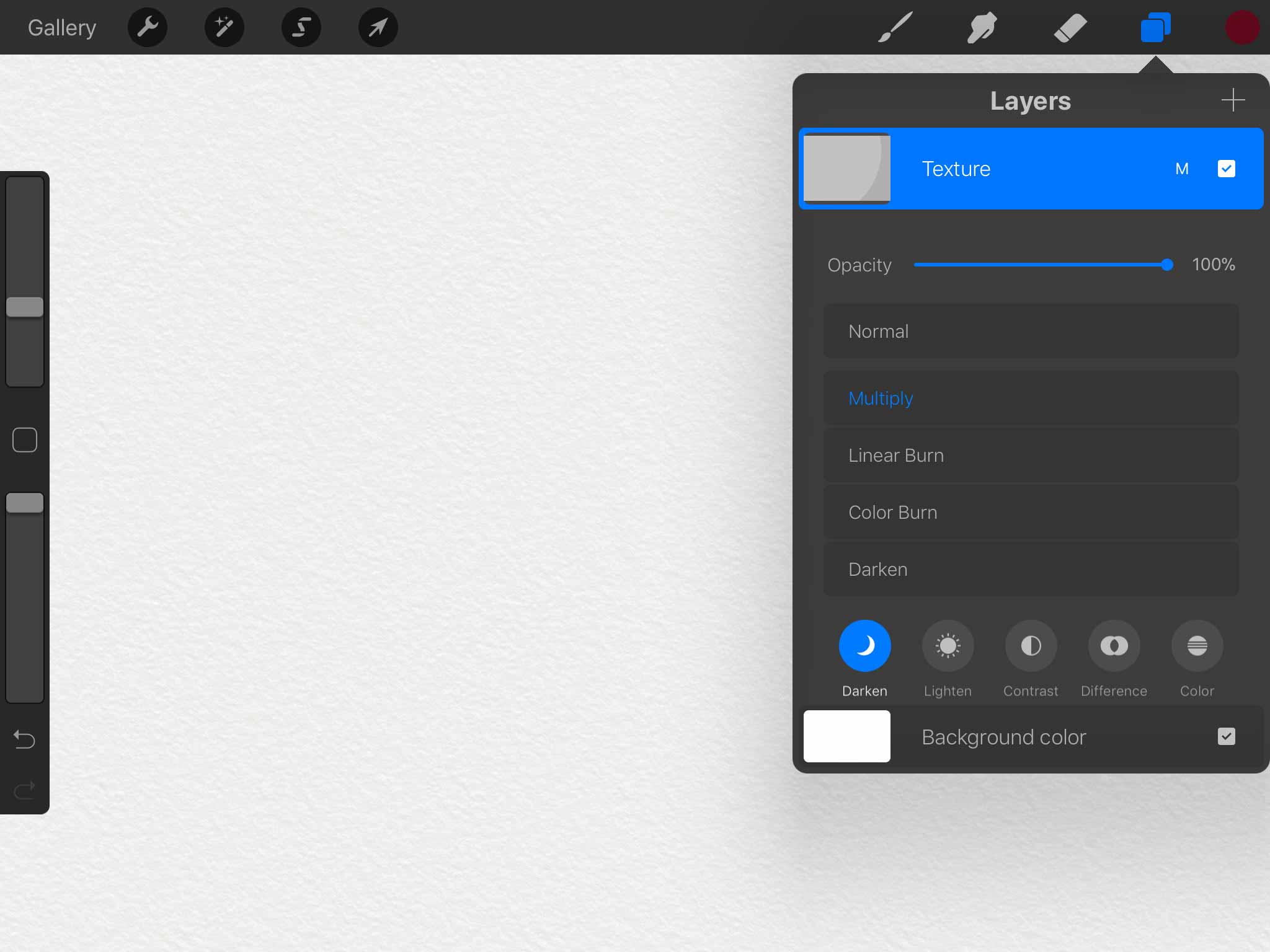 Screenshot of Procreate for iPad app's layers palette showing a watercolor paper texture layer added above a white background layer