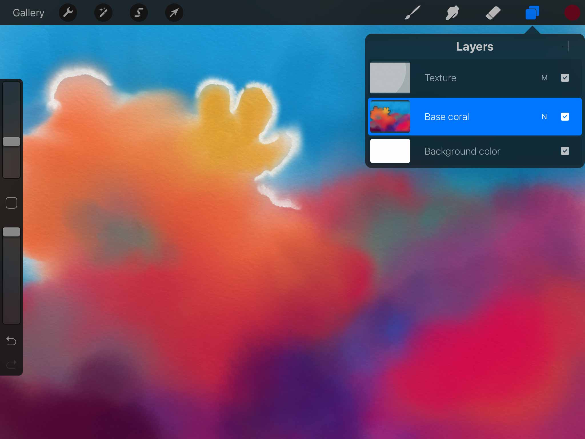 Screenshot of Procreate for iPad app's showing a red, orange, and blue watercolor painting of an underwater scene, on a layer named base coral
