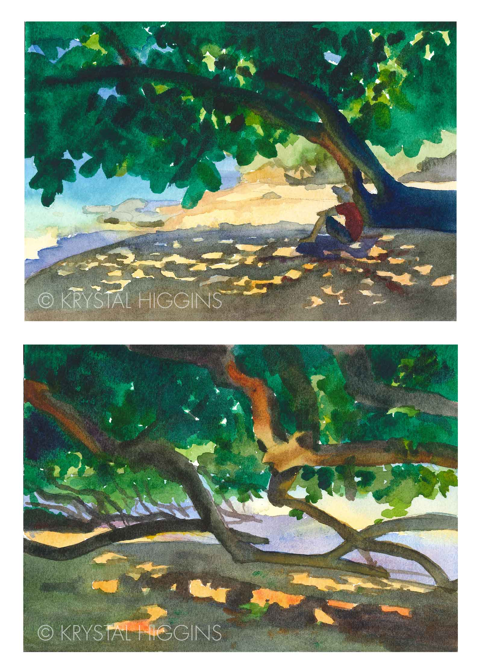 Two watercolor paintings of a beach with light coming through the shade of mangrove tree leaves