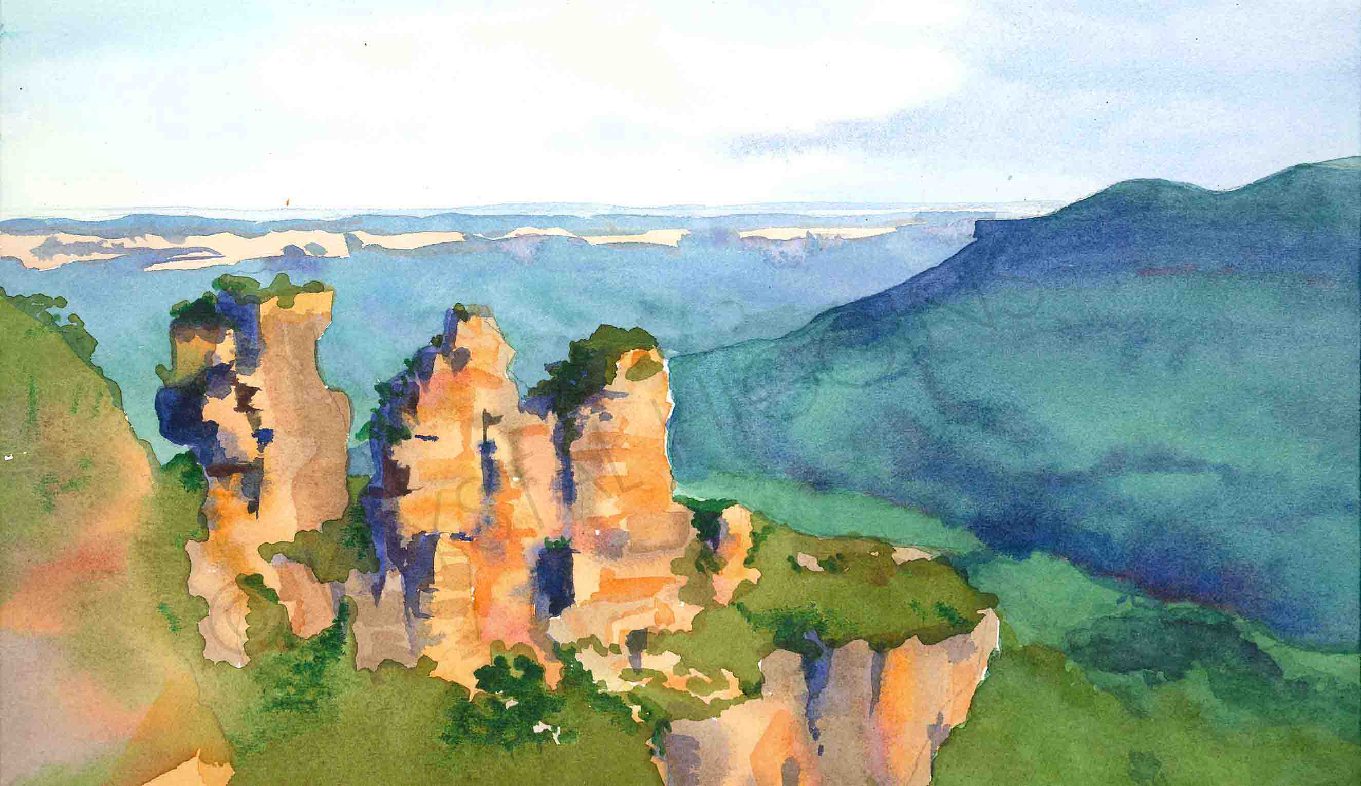 A scan of a painting of the Three Sisters in the Blue Mountains, Australia