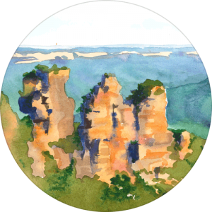 Circular crop thumbnail image of the Three Sisters painting