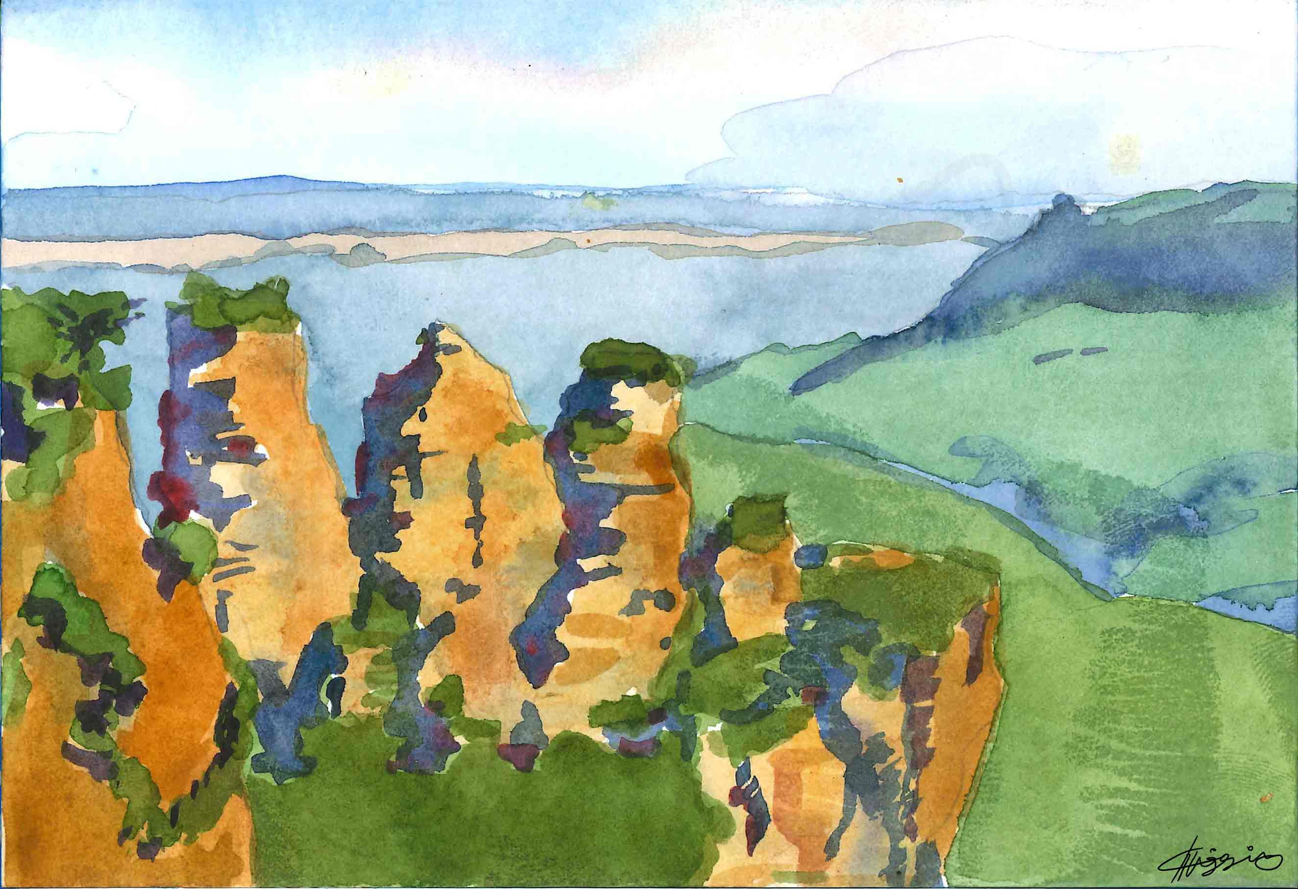 Watercolor study of the 3 sisters rock formation in the Blue Mountains, Australia