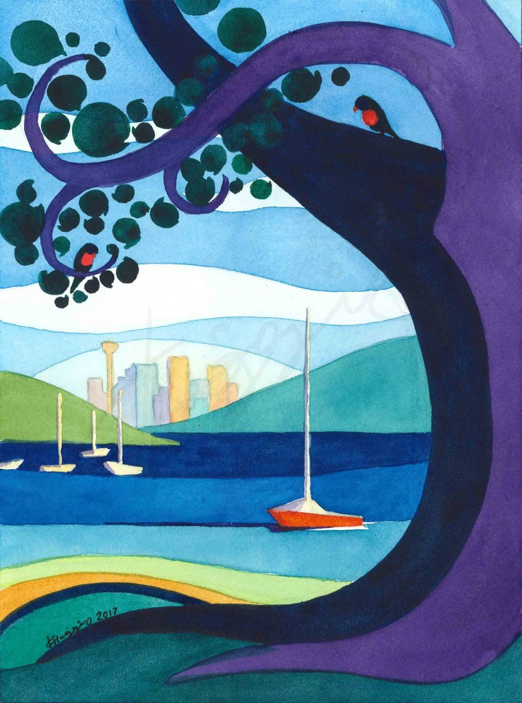 Graphic, quilt-like watercolour painting showing Sydney city in the distance, encircled by a purple tree, vibrant water, and the suggestions of lorikeets