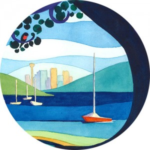 Thumbnail image of a graphic, quilt-like watercolour painting showing Sydney city in the distance broken up into segments of dark purple, blue, green, and red
