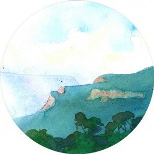 Thumbnail image of a watercolour painting of a misty morning in the Blue Mountains