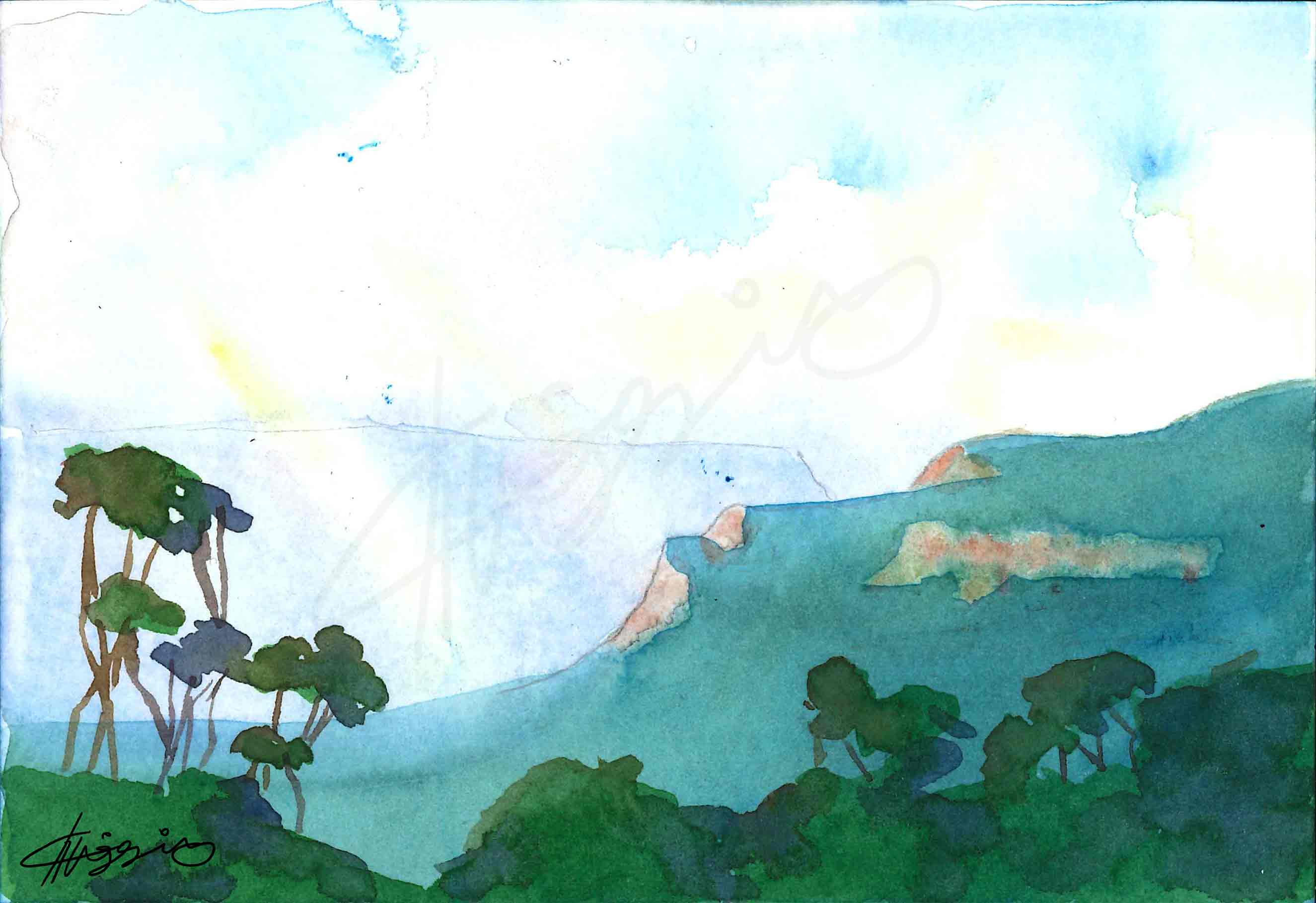 Watercolour painting of a misty morning in the Blue Mountains