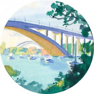 Thumbnail image of a watercolor that shows a large bridge in the foreground with the Sydney Harbour Bridge visible in the distance, under its arch.