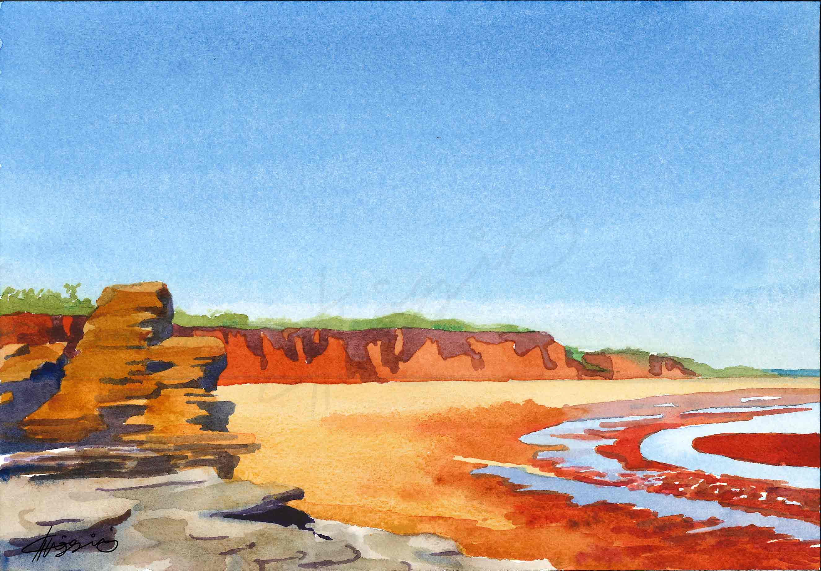 A watercolour painting of the red sands and cliffs of Broome at low tide, contrasted against the vibrant blue of the sky.