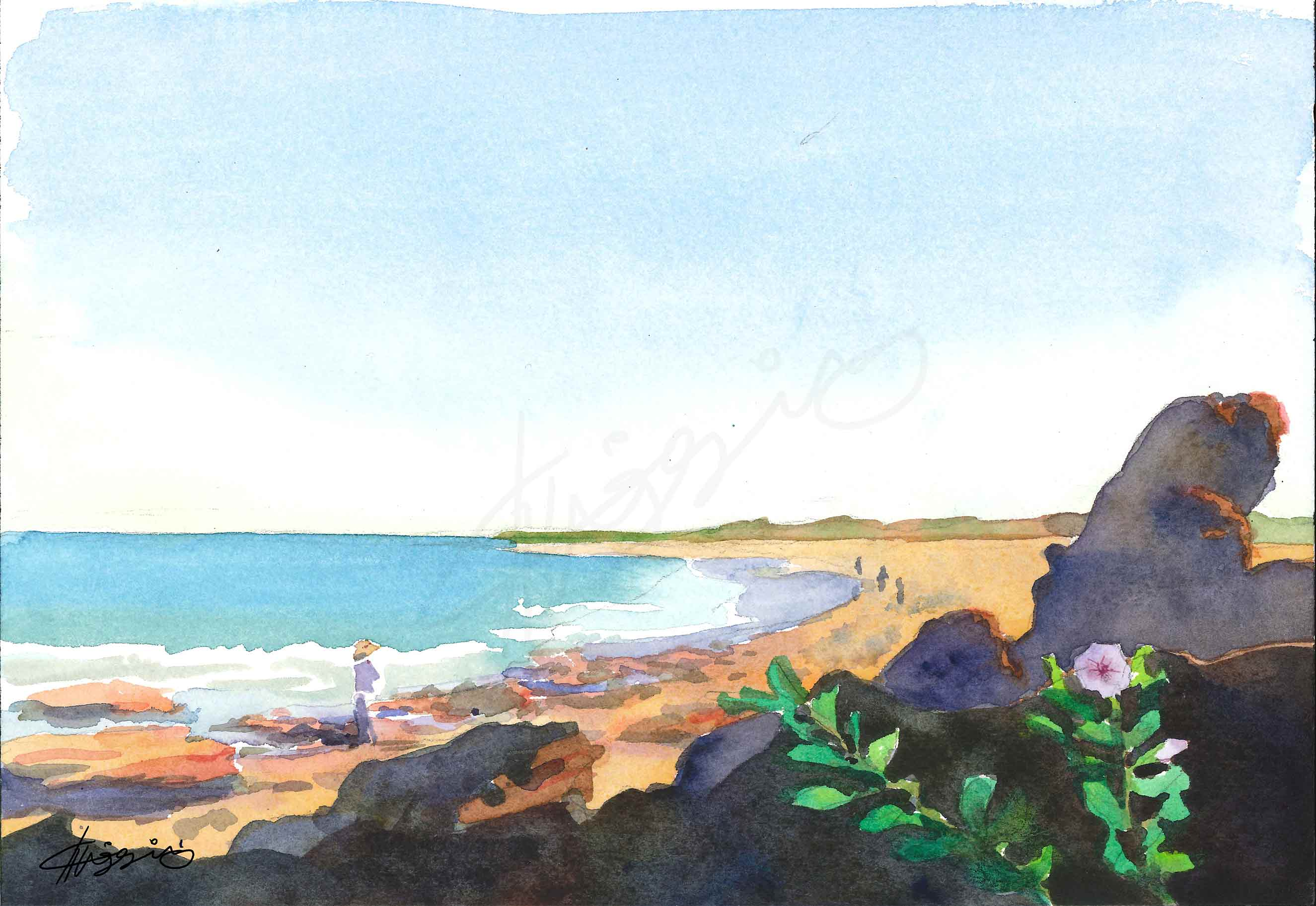 Watercolor painting of people walking along Cable Beach in Broome, Australia, in the morning