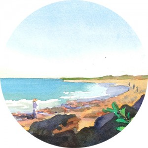 Thumbnail image of watercolor painting of people walking along Cable Beach in Broome, Australia, in the morning