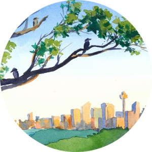 Thumbnail image of watercolor painting of Sydney city from high up, with 3 kookaburras on tree branches in the foreground