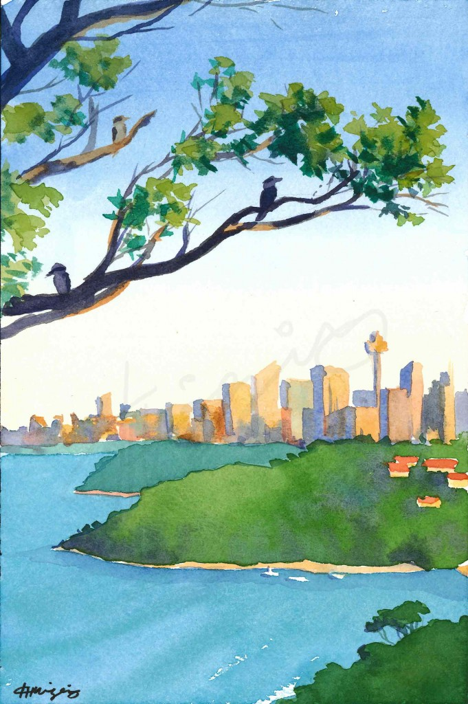 Watercolor painting of Sydney city from high up, with 3 kookaburras on tree branches in the foreground