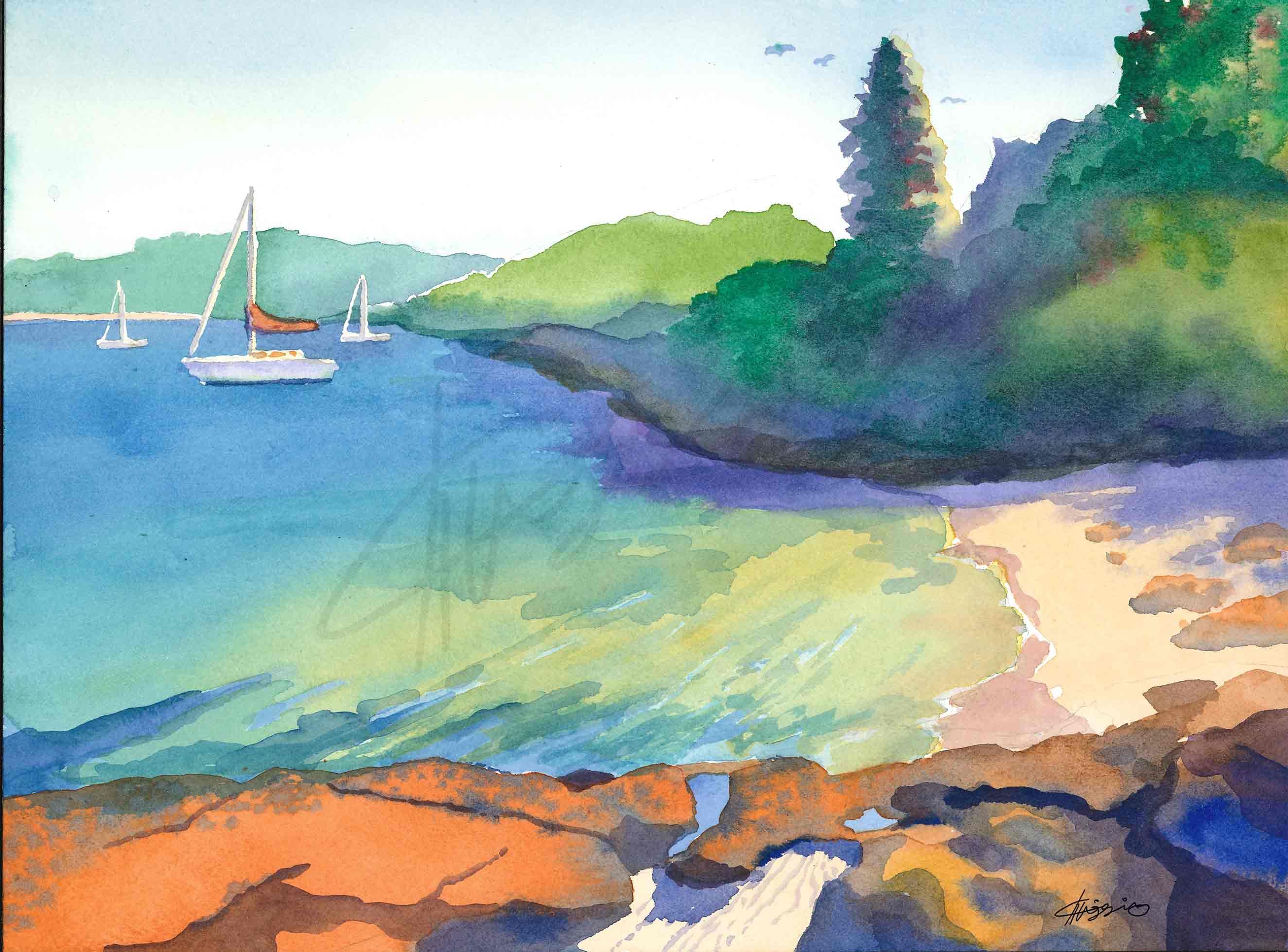 Watercolor painting of a beach and moored boats