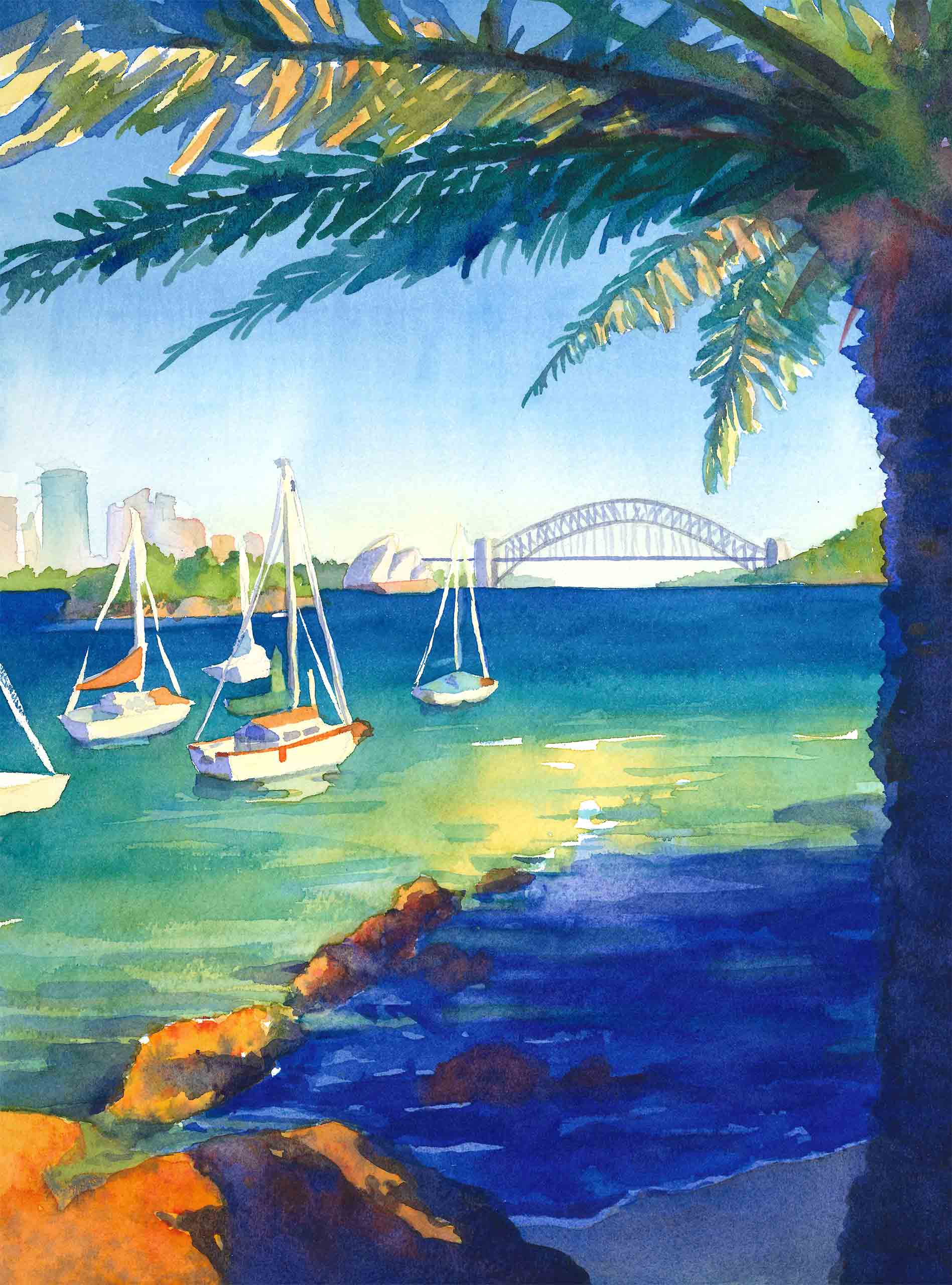 Scan of a watercolour painting of the Sydney harbour with boats moored and the Harbour Bridge in the distance