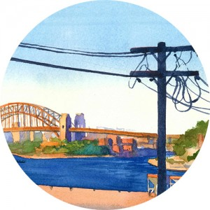 Thumbnail image of a watercolour painting that shows the Sydney Harbour brdige at sunset and a telephone pole silhouette in the foreground