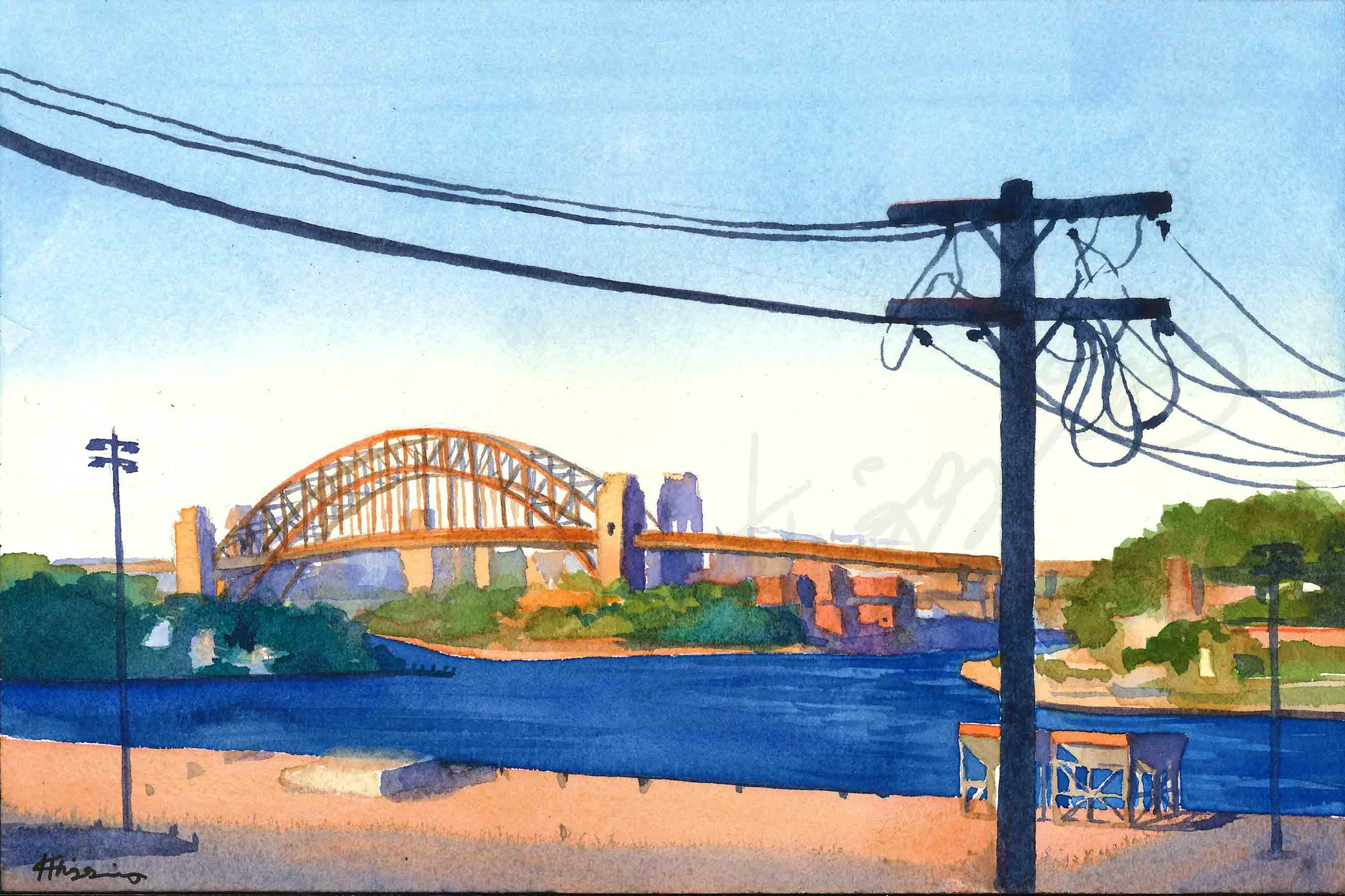 Watercolour painting of Sydney's Harbour bridge at sunset, with silhouettes of telephone poles in the foreground