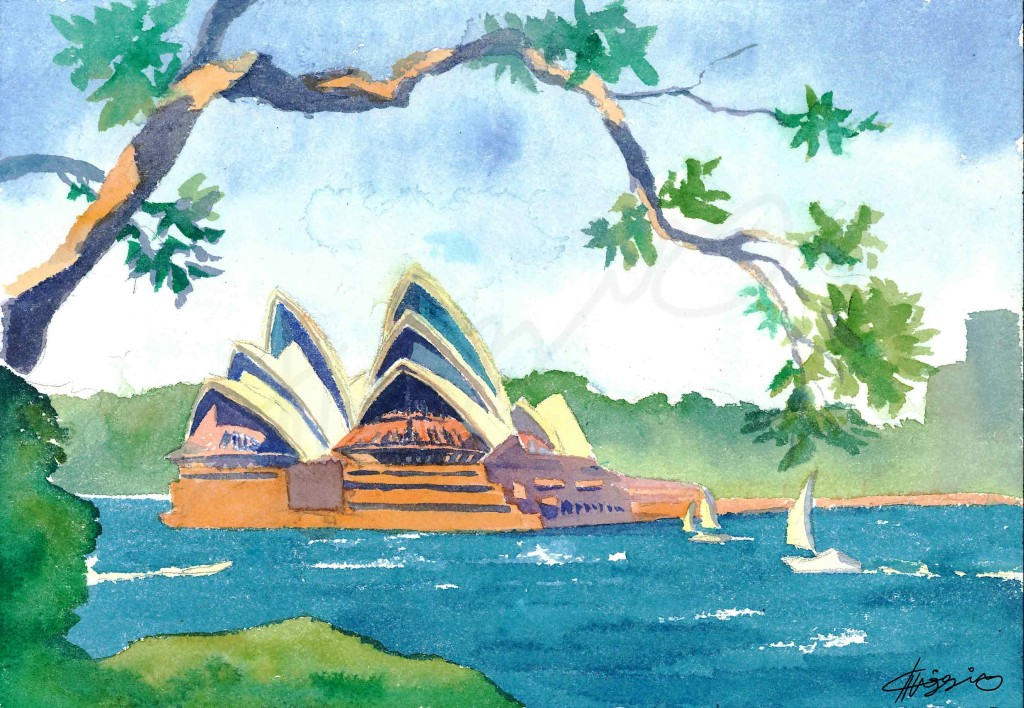 Watercolour painting of the Sydney Opera House, from across Sydney Harbour