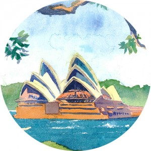 Thumbnail of watercolour painting of the Sydney Opera House