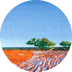 Thumbnail image of watercolour painting of Broome's bright red mudflats and a lone tree silhouetted against the bright blue sky