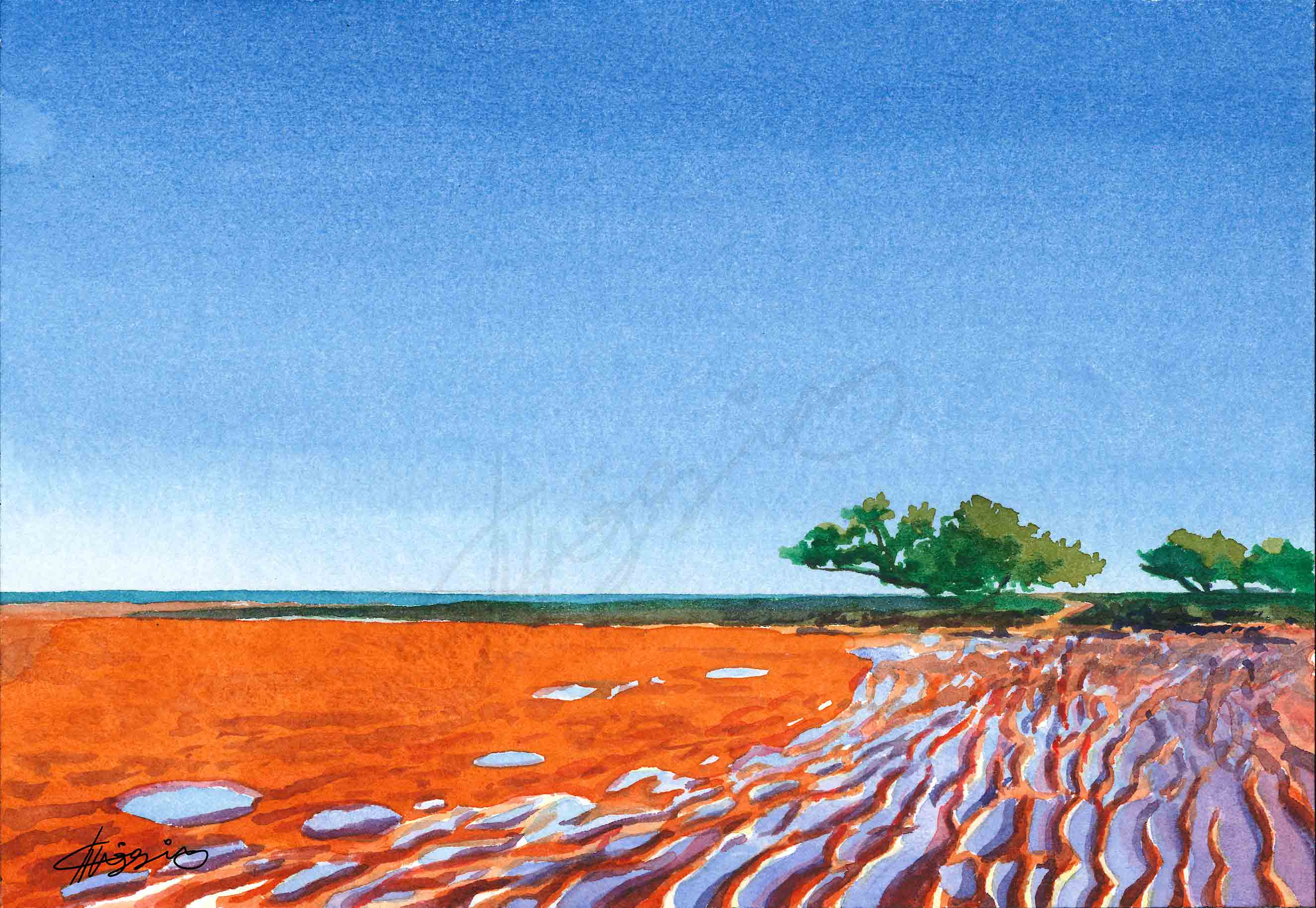 A watercolour painting of Broome's red mud, exposed by low tide, with a lone tree in the distance