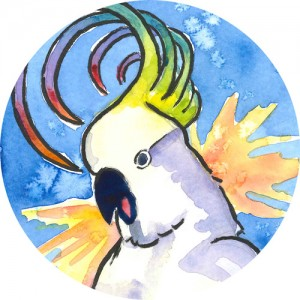 Thumbnail image of a colorful rendition of a screaming cockatoo