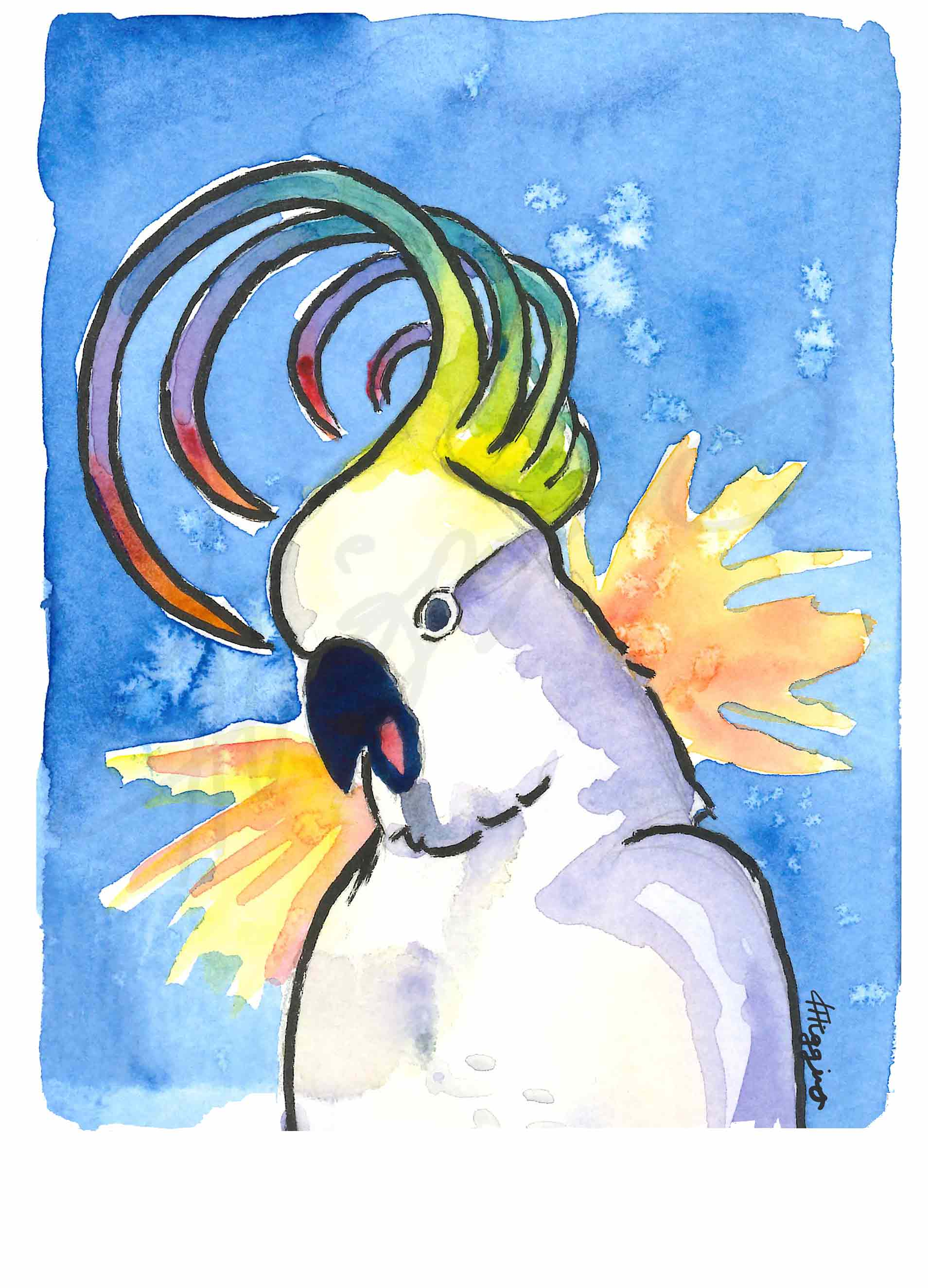 Vibrant watercolour painting of a screaming cockatoo with a rainbow-colored crest