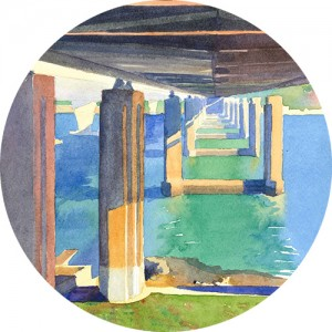 Thumbnail image of watercolor painting showing underside of a bridge