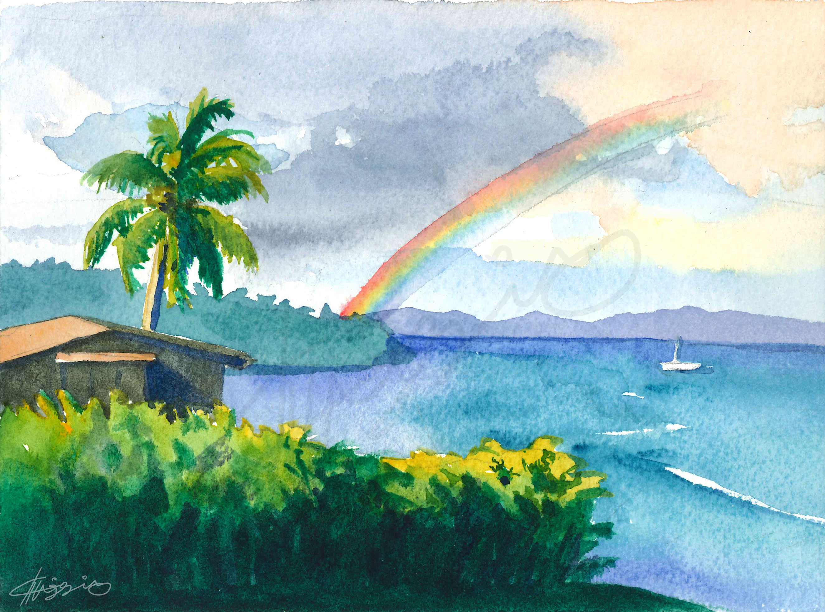 Watercolor painting of a view from Taveuni Island, where a rainbow peeks out ahead of storm clouds over the ocean