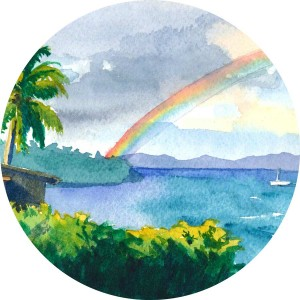 Thumbnail image of a watercolor depicting a rainbow over a beach