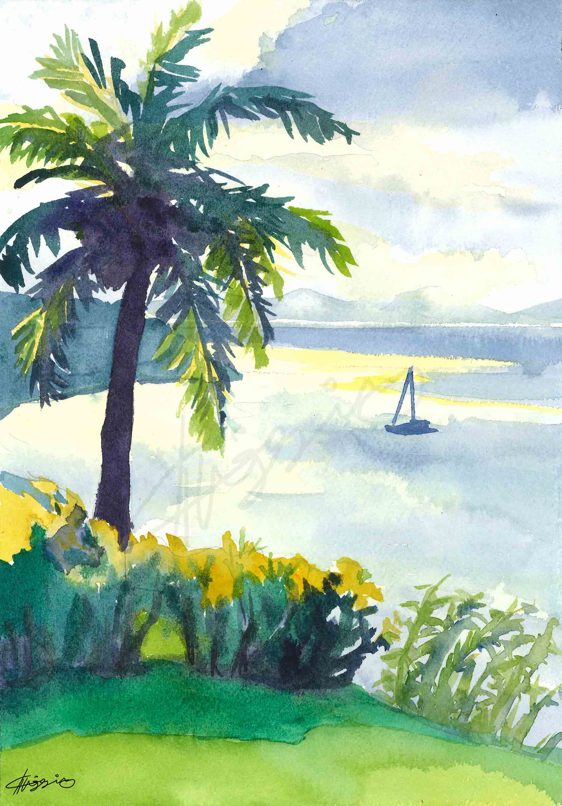 Watercolour painting of an ocean view from Taveuni island, as the evening sun filters through rain clouds to create a silvery effect on the water