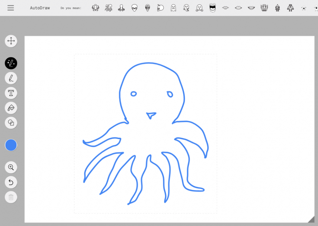 Screenshot of Google's AutoDraw interface, showing clipart suggestions for a sketch of an octopus